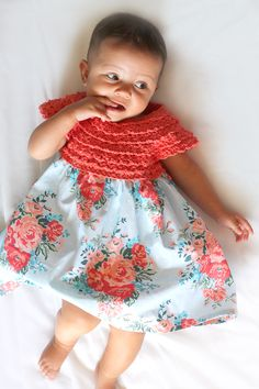 This adorable handmade baby dress features a crocheted bodice and a vintage floral skirt. Get the free crochet pattern and create one for that sweet baby in your life!