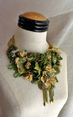 OLIVINE Green Gold Beaded Textile Wearable Art by carlafoxdesign