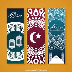 Set of three Ramadan banners featuring multiple colors and designs. Each banner has a different drawing style, such as floral, tribal or geometric. Great