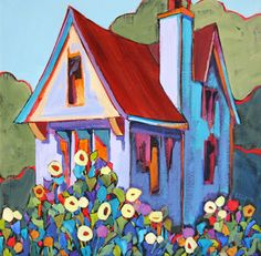 Terwilliger Boulevard, contemporary urban landscape painting, painting by artist Carolee Clark Cottage Art, Naive Art, Urban Landscape, Whimsical Art, Oeuvre D'art, Home Art, Landscape Paintings, Watercolor Art, Art Drawings