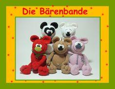 Tadaaaa....Bahn frei für die Bärenbande!!!  Kleine Besonderheit: Alle fünf können entweder sitzen oder stehen!!!  Mit dieser Anleitung könnt Ihr Euch gleich fünf verschiedene Bären häkeln....