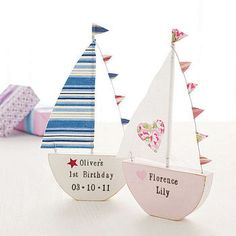Personalised boats with stars or hearts and bunting