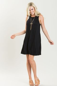 Denise Black Sleeveless Swing Dress