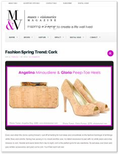 Angelina Cork Minaudiere and Gloria Peep-Toe Heel featured in M&V Magazine Online