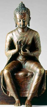 9th century, Nepal, late Licchavi period, sitting buddha of the future Maitreya, copper alloy, private collection