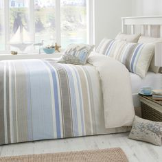 Falmouth Striped Duvet Set, Blue