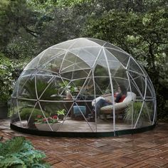 "Another photo of the amazing Garden Igloo! ""Garden Igloo is a multipurpose geodesic dome designed both as a winter garden and a summer canopy. Its beautiful interior and simple setup allows you to create comfortable outdoor living spaces for your greenhouse, playground, garden storage, conservatory, jacuzzi cover…"""