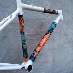 Flavor #20 is ready for delivery! Walter White powder with Orange and Teal Espionage decal pack. #makeityourown #custom #metalbikes #cyclocross #bikes #cycling #frameset #handmade #madeinusa #musclebikes