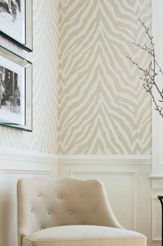 neutral zebra print wallpaper (stencil?); thibautgeometric.......zebra print.....maybe in a very soft pink.....