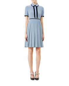 W0CUH Gucci Short-Sleeve Silk Crepe Shirtdress, Dusty Blue/Black