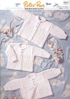 Peter Pan Baby Premature Cardigans Knitting Pattern 843  4 Ply, DK | Knitting | Patterns | Minerva Crafts