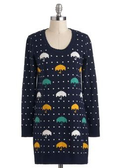 Rhythm of the Raindrops Sweater - Blue, Yellow, Green, White, Casual, Long Sleeve, Long, Polka Dots, Novelty Print