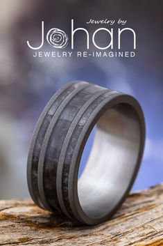 Jewelry by Johan's masculine wedding bands are handcrafted with unique materials like carbon fiber, dinosaur bone, and sandblasted titanium. #JewelrybyJohan Dinosaur Bone Ring, Dinosaur Bones, Masculine Wedding, Titanium Rings For Men, Carbon Fiber, Wedding Bands, Engagement Rings, Jewelry, Carbon Fiber Spoiler