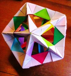 30 unit windowed Icosahedron using Tomoko Fuse's modular origami units. Wanna know how?? join me for a workshop Sunday 14th April in Melbourne!!