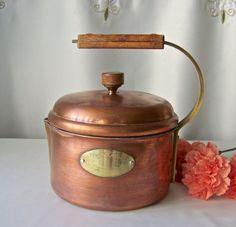 Vintage Copper Teapot Decorative Tea Kettle Wood Handles De La Cuisine 1970s