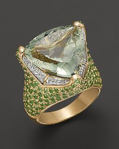 Prasiolite Ring with Diamond and Tsavorite in 14K Yellow Gold, .18 ct. t.w. | Bloomingdale's