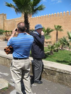 Howie and Gilbert outside Casbah walls, Rabat