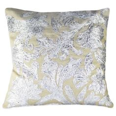 Lurex Floral Embroidered Square Throw Pillow in Silver - BedBathandBeyond.com