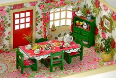 Sylvanian Families Decorated Vintage Dining Room Furniture Set Cath Kidston By Fistuff