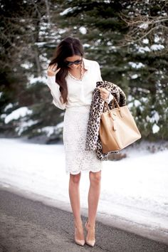 To meet the parents: White lace skirt with a touch of leopard