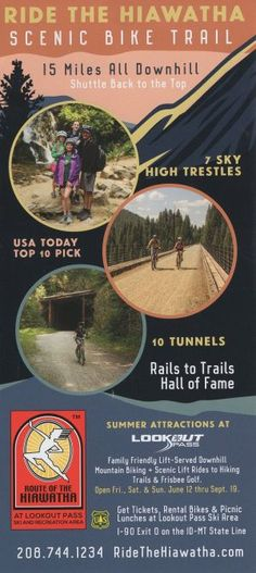 Route of the Hiawatha - Scenic Bike Trail - Ride the #HiawathaScenicBikeTrail 15 miles all downhill! 7 sky high trestles and 10 tunnels!
