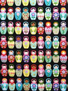 Russian Babushka Matryoshka Nesting Dolls on Black Sewing Quilting Fabric