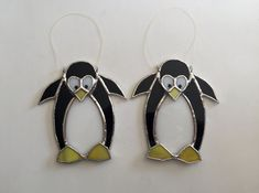 Handmade Stained Glass Penguin Suncatcher van QTSG op Etsy