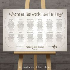 "Our Travel Wedding Seating Chart is perfect for a travel-theme wedding, for a long-distance couple, or for globetrotters. This chart has a faded, vintage map of the world in the background with the header reading, ""Where in the world am I sitting?"" This can be changed to any text, for example ""Which city/island/capital am I sitting?"" Table names are suggestions only …"