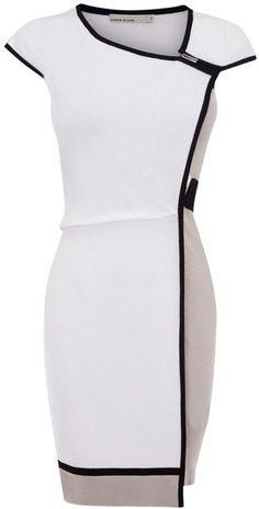 Vestido blanco con biés negro