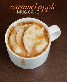 Caramel Apple Cake mug cake recipes. I love mug cakes! Single Serve Desserts, Just Desserts, Delicious Desserts, Dessert Recipes, Yummy Food, Paleo Dessert, Cake Recipes, Steak Recipes, Microwave Mug Recipes