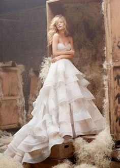 Hayley Paige ball gown with twist sweetheart bodice.