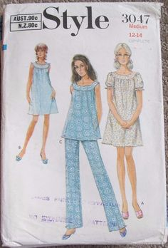 Vintage Style sewing pattern 3047 size 12-14 pyjamas 70 s complete