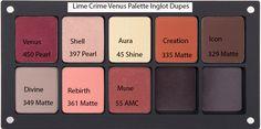 Lime Crime Venus Palette Inglot Dupe