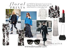 """""""Black and White Floral Prints"""" by riversandrunways on Polyvore featuring Yves Saint Laurent and NARS Cosmetics"""