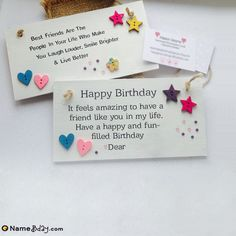 Make your friendship more strong by sending unique happy birthday cards. Here we have a collection of birthday cards for friends with name and photo. Birthday Card With Name, Best Friend Birthday Cards, Creative Birthday Cards, Special Birthday Cards, Happy Birthday Wishes Quotes, Birthday Wishes For Friend, Birthday Card Sayings, Happy Birthday Fun, Happy Birthday Greetings