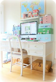 My baby has this exact desk. Girly Desk and Boxes. I think I need to do this