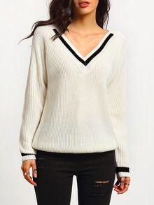 White Long Sleeve V Neck Sweater