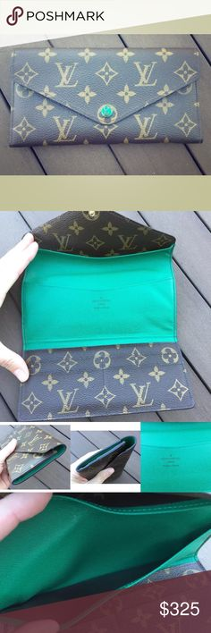 Authentic Louis Vuitton Josephine wallet green EUC Authentic Louis Vuitton Josephine wallet in a gorgeous green leather. Has multiple storage slots. In excellent condition. The only flaw is the wear on button . Can be replaced at Louis Vuitton. Lovely wallet 👏🏻 Louis Vuitton Bags Wallets