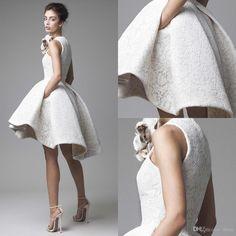 Krikor Jabotian High Low Lace Prom Dresses 2016 Jewel Neckline A-Line Flower Appliqued Party Dress Short Lace Evening Gowns With Pockets