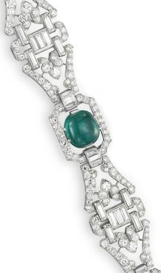 Detail: Art Deco diamond and emerald bracelet by J.E. Caldwell, circa 1930.