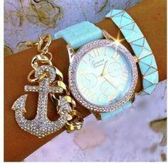 Tiffany watch with anchor diamond bracelet