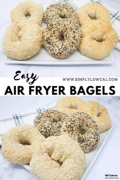 Easy air fryer bagels are made in less than 30 minutes. Perfect for a quick breakfast.   Simply Low Cal @simplylowcal #airfryerbagels #breakfastrecipe #brunchrecipe #airfryerrecipe #easyairfryerrecipe #simplylowcal