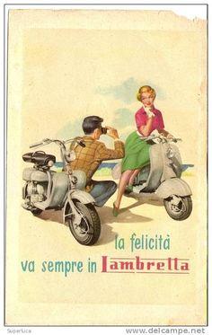 M-LAMBRETTA LA FELICITA VA SEMPRE IN LAMBRETTA FIRMATA MOSCA PUBBLICITA ANNI 50 ORIGINALE