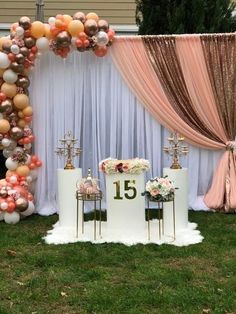 Outdoor Birthday Decorations, Sweet 16 Party Decorations, Quince Decorations, Cake Table Decorations, Quinceanera Decorations, Outdoor Party Decor, Quinceanera Party, Backdrop Decorations, 15th Birthday Party Ideas