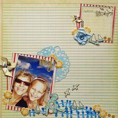 Scrap Ani (Brises) z użyciem papierowych kwiatków Latarnia Morska. Pigment Ink, Scrapbooking, Stamp, Christmas Ornaments, Holiday Decor, Beach, Color, Ideas, The Beach