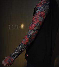 Arm Sleeve Tattoos, Japanese Sleeve Tattoos, Tattoo Sleeve Designs, Tattoo Designs Men, Body Art Tattoos, Black Sleeve Tattoo, Tattoo Arm, Tattoo Drawings, Hand Tattoos