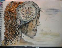 Woman with curly hair Eigene Zeichnung Aquarell, Tusche