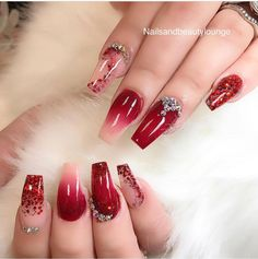 Amazing Latest Nail Art Designs Ideas For Prom 2019 Red Ombre Nails, Red Acrylic Nails, Red Nail Art, Glitter Nail Art, Prom Nails, Bling Nails, Trendy Nails, Cute Nails, Faux Ongles Gel