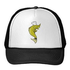 Cartoon Chef Baker Cook Trout Fish Trucker Hat. Trucker hat designed with an illustration of a cartoon trout baker viewed from the side on isolated background. #trout #baker #truckerhat