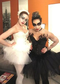 black swan and white swan halloween costume contest